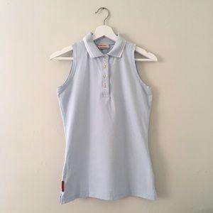 Prada Pique light blue sleeveless polo shirt